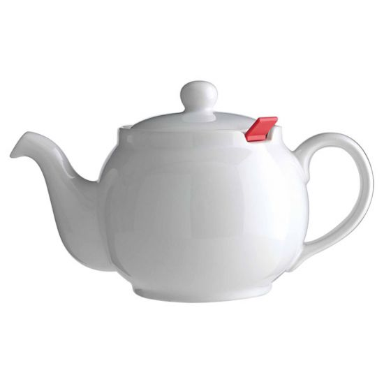 WHITE 10-CUP TEAPOT(RED FILTER)CHATSFORD CC 15522