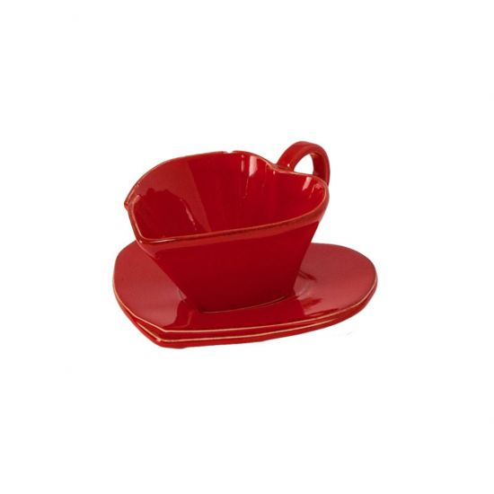 **CUP & SAUCER ROSSO LASTRA HEART CC 5512007
