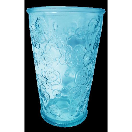 300ML GLASS FLORA BLUE HT13CM/D8CM CC 642300DB20