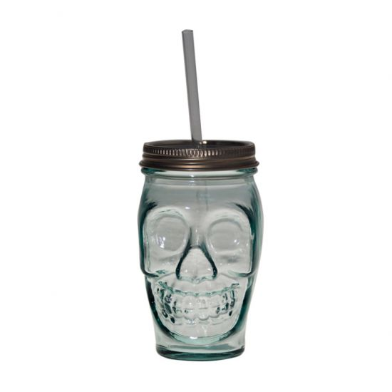 DRINKING TUMBLER W/LID CLEAR 450CL SKULL Pack Of 2 CC 642345
