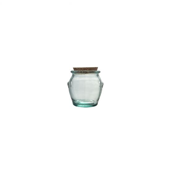 0.9L ROUND JAR W/CORK STOPPER H13CM Pack Of 2 CC 645083