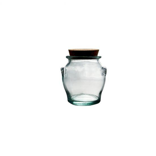 0.5L ROUND JAR W/CORK STOPPER H12CM Pack Of 3 CC 645084