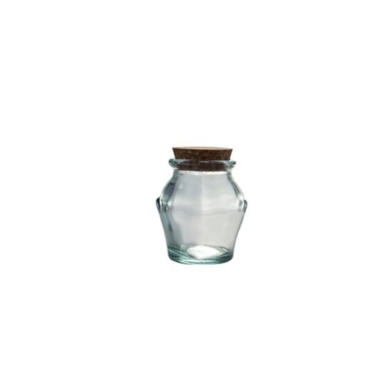 0.25L ROUND JAR W/CORK STOPPER H10CM Pack Of 3 CC 645085